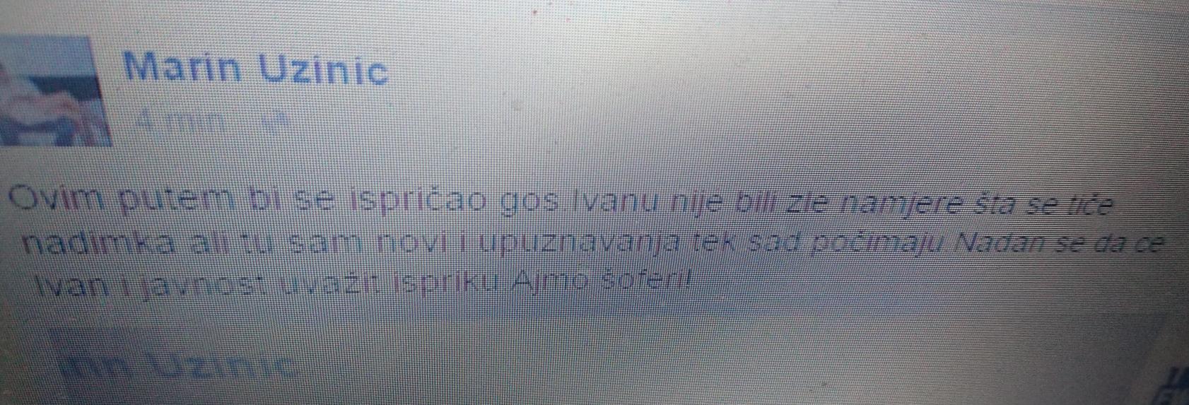 Marin Uzinić fb isprika